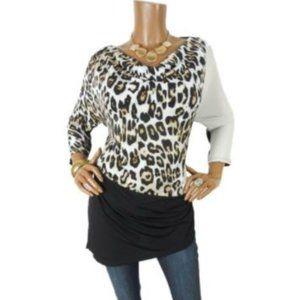 CHICO'S XL Sz 3 Animal Print Tunic Shirt Stretch